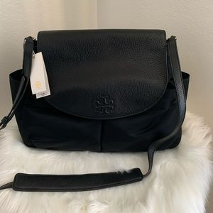 Tory Burch Black Thea Nylon Messenger Diaper Bag